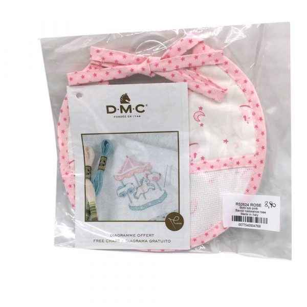 Bavaglio Punto croce RS2624 stelle e cavallo a dondolo olore rosa DMC_0